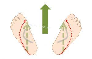 オーバープロネーションの人が歩く時の足裏の重心の動き