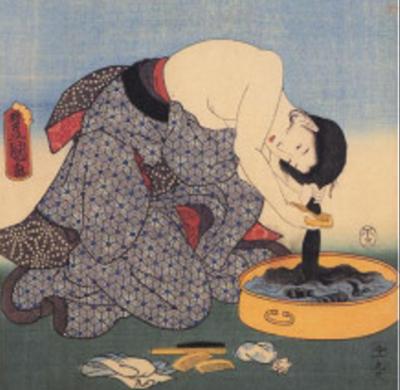 髪を洗っている江戸時代の女性