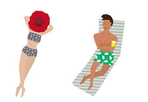 海岸で日焼けしている人びと