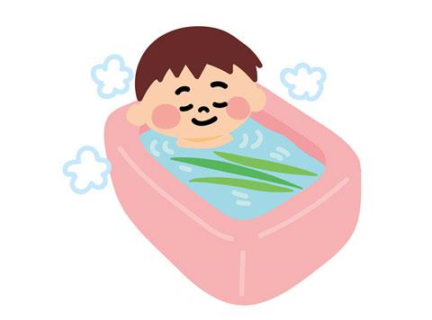 お風呂で湯船につかっている人