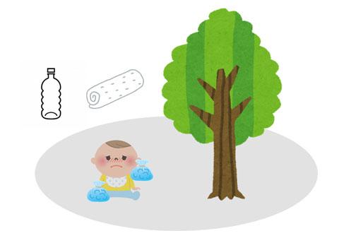 赤ちゃんが熱中症になってしまった時にはとにかく木陰などで体温を下げる