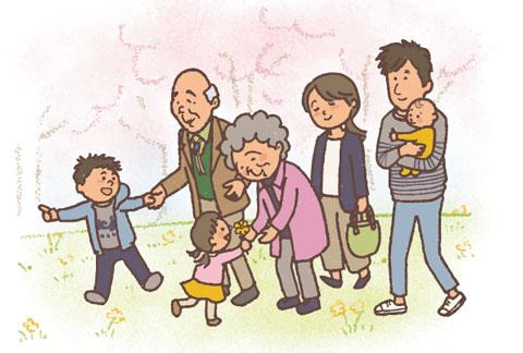 老人とその家族