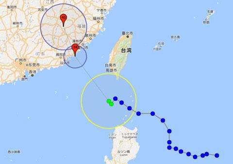 デジタル台風:台風進路予想図