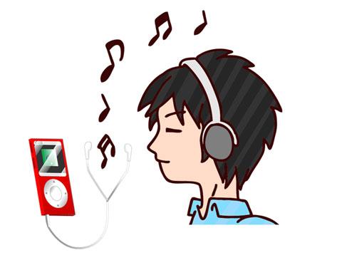 音楽を聴いている人
