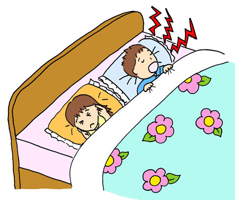 旦那がいびきをかいていて眠れない奥さん