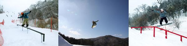 五ヶ瀬ハイランドスキー場のゲレンデにあるスノボの施設