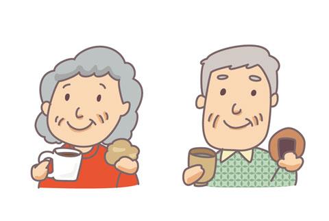 コーヒーやお茶を飲んでいる高齢者