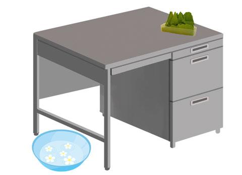 机の横に置いた洗面器