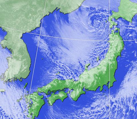 冬の気象衛星画像