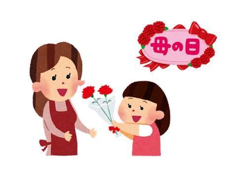 母の日にお母さんに赤いカーネーションを贈っている女の子