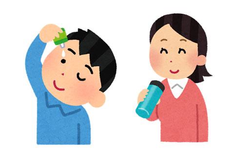 目薬医を指している人と水分を摂っている人