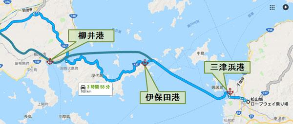 松山から柳井までフェリーで行くルート