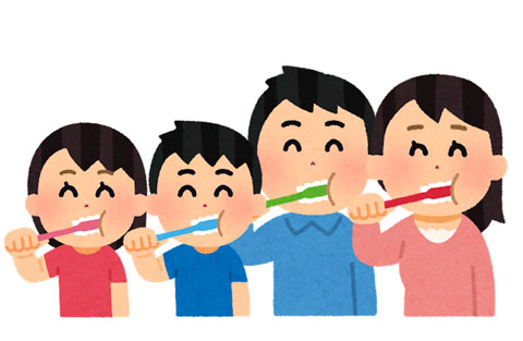 歯を磨いている家族