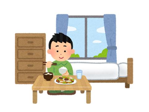 一人で食事をしている人