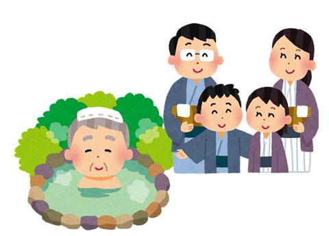 おじいさんを連れて温泉に来た家族