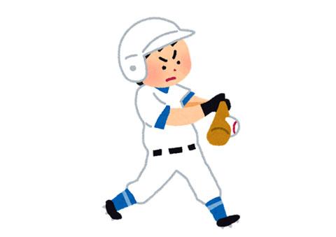 正しいバットスイングでジャストミートしている野球の選手