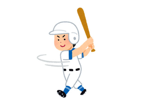 素振りをしている野球の選手