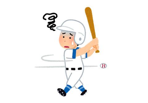バットコントロールが出来ずに空振りをしている野球のバッター