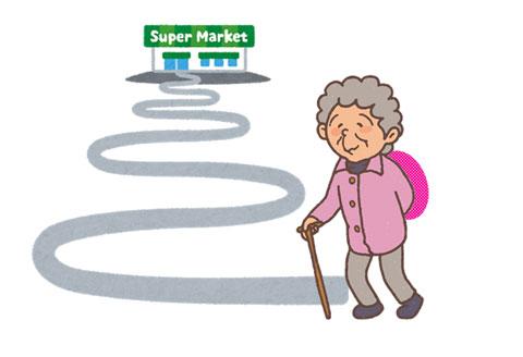 遙か遠い道のりを歩いてスーパーマーケットに通うお婆さん