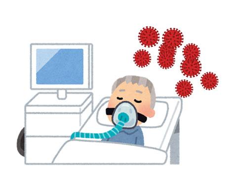 コロナウイルスに感染して人工呼吸器をつけられた人