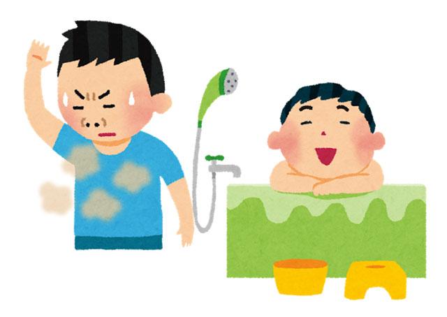 体臭が気になる人が酵素系の入浴剤を入れてあるお風呂に入っているところ